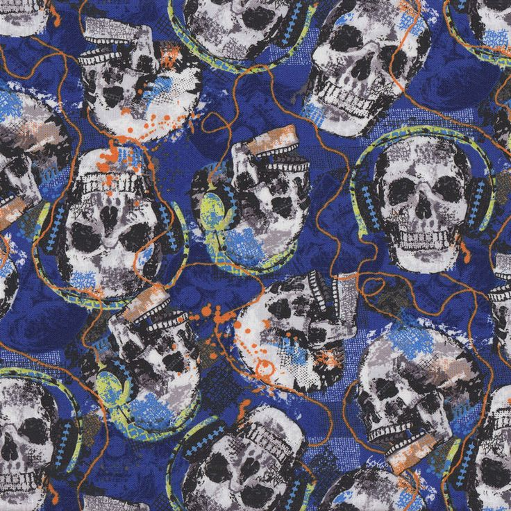 Skulls Rocking With Headphones on Blue Music Quilt Fabric - Find a Fabric - Available to purchase in Fat Quarters, Half Metre, 3/4 Metre, 1 Metre and so on.