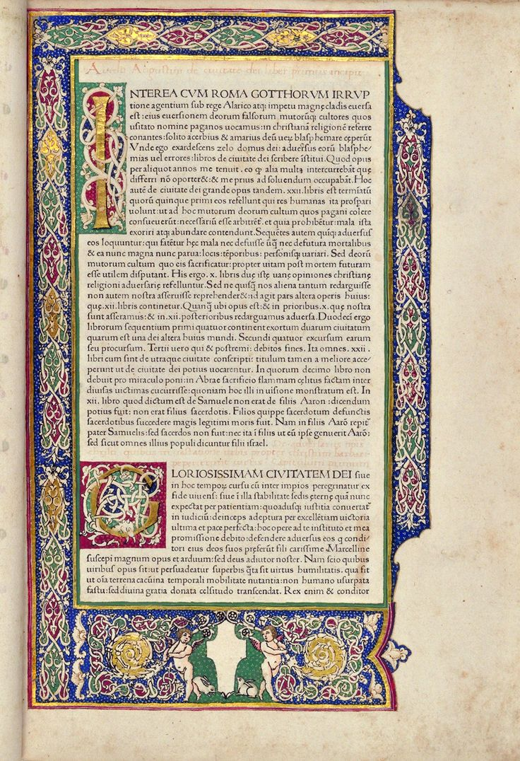 """ST. AUGUSTINE, Bishop of Hippo (354–430). De civitate dei. Venice: Johannes and Vindelinus de Spira, 1470. The first printer in Venice, Johannes de Spira from Speyer, Germany. In Bridwell Library's copy of the de Spira edition of De civitate dei, the white-vine decorations were painted over hand-stamped woodblock patterns that served as guides. These stamped borders and initials were not printed by the de Spiras, but by an illuminator known as the """"Master of the Putti."""""""
