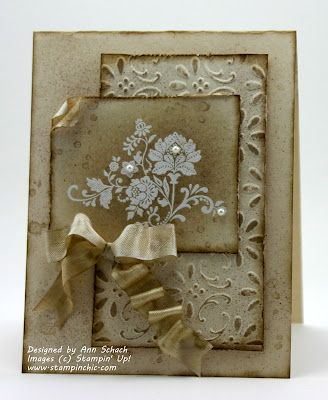 Would like to try making this one. I think The flowers could be heat embossed with white ink on distressed paper and liquid pearls used for the dots.