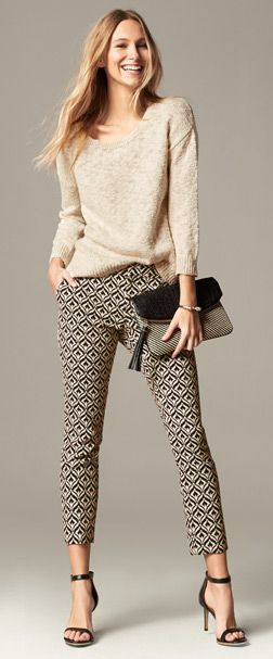 What a fantastic casual work look! Change out those heels for a flat or a closed toe shoe and you're good to go to work! Bring those strappy sandals for after work socializing!