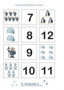 Memorie thema Noordpool en Zuidpool, winter op kleuteridee.nl, free printable 2