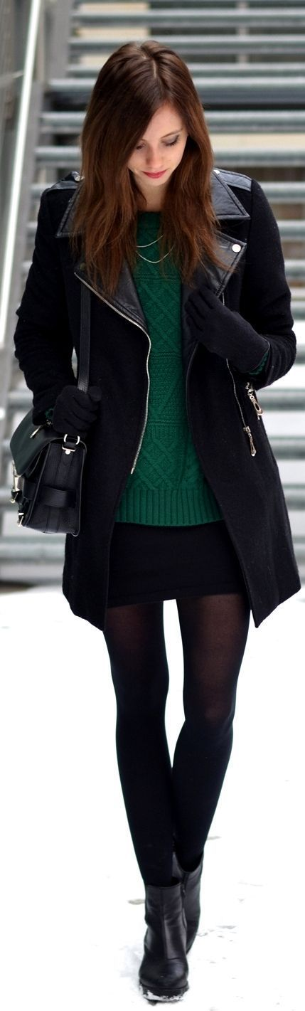 Love the tights with the black skirt and green sweater. Not into the boots, though. I'd switch them for boots of a different material.