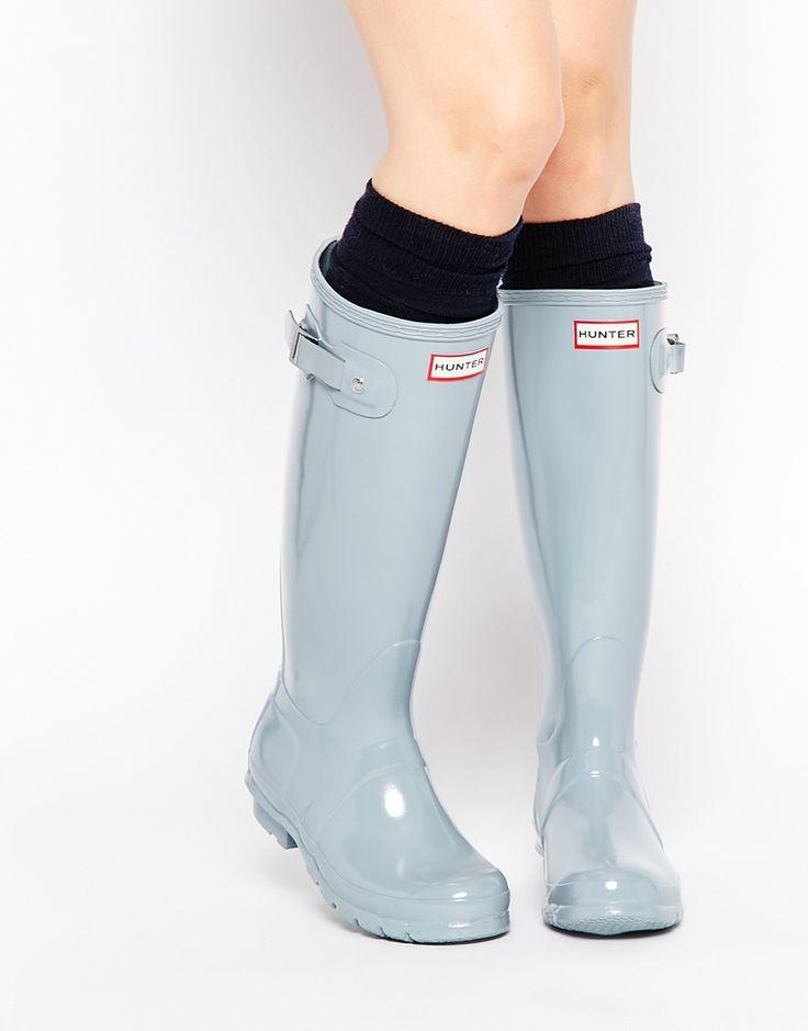 Hunter Original Porcelain Blue Tall Gloss Wellington Boots