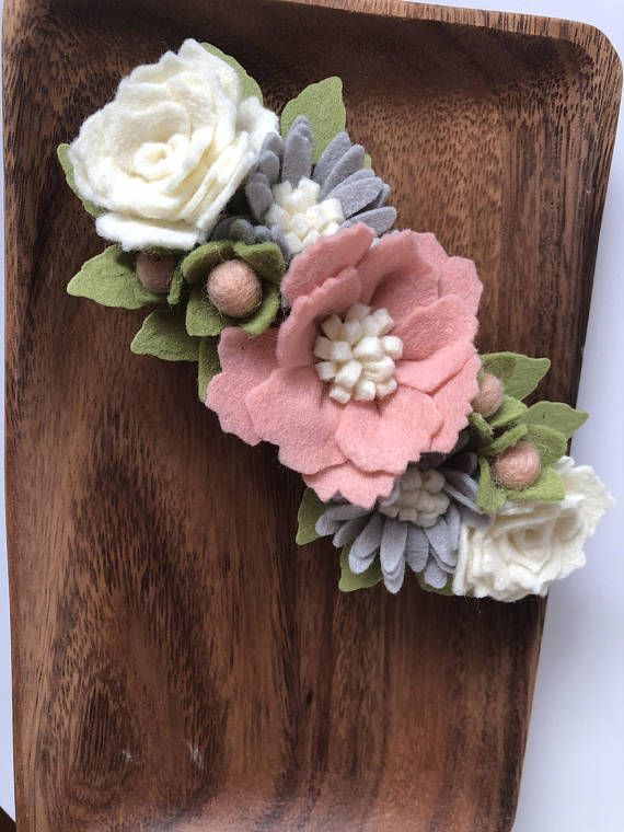"This stunning flower headband has a feminine neutral pallet of blush, pinks, white and gray. Flowers measure approx. 6"" long and 2.5"" wide. Flowers are attached to a one size fits all nylon headband that will grow with your little one. ~SyddyKat florals and bows are 100% handmade"