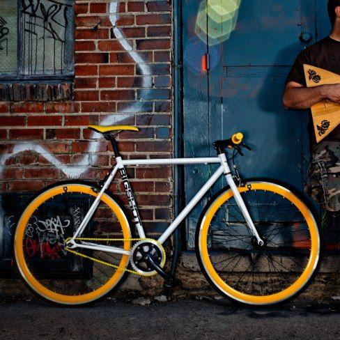 White, Black, & Yellow Single Speed Bicycle