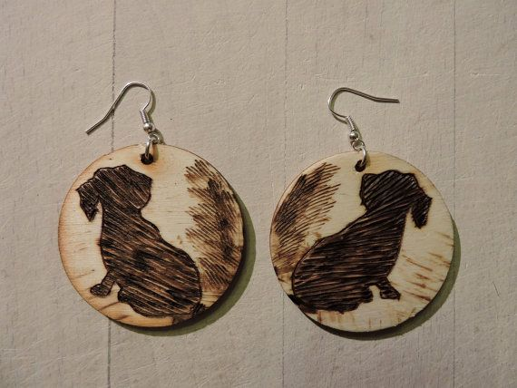 Handmade wood earrings with a dachshund Wooden by GajaArtCrafts