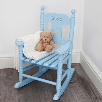 Personalised Blue Children's Rocking Chair ( I think my husband should make these for the grandkids)