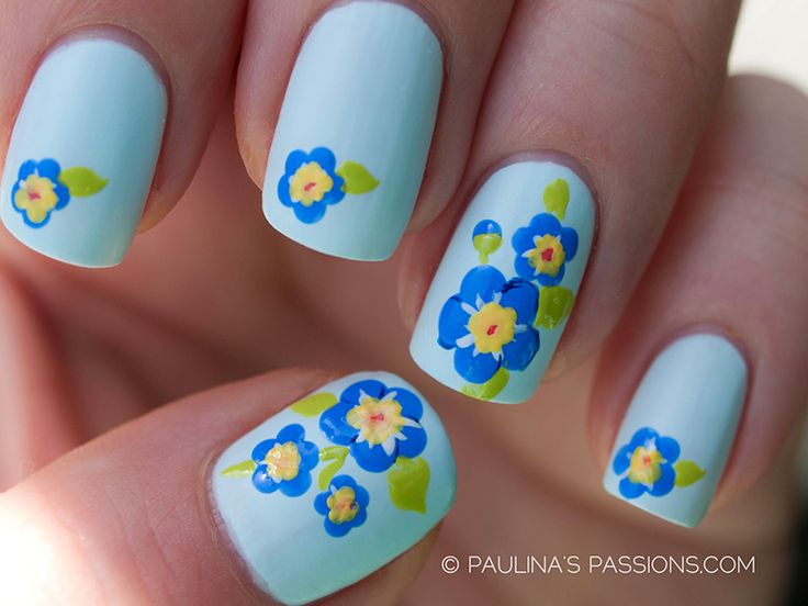 92 best autism awareness nail art images on pinterest nail art autism awareness nail art challenge day 1 blue flowers beautiful forget me prinsesfo Choice Image