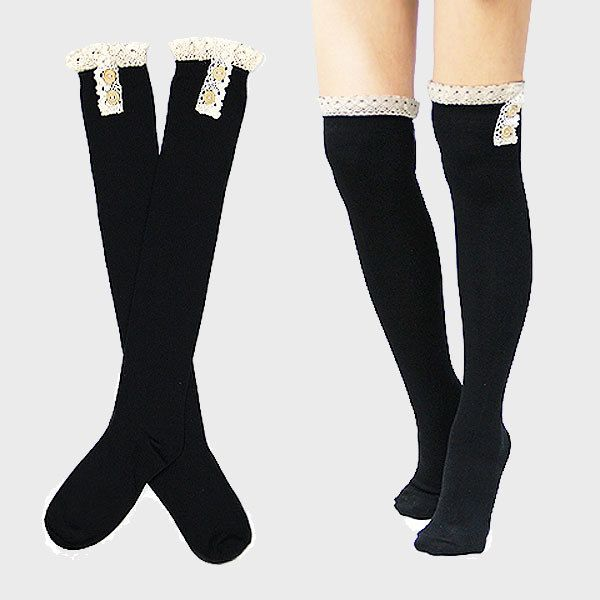 Black Cotton Button Lace Over The Knee High Socks Long Women's School Girl