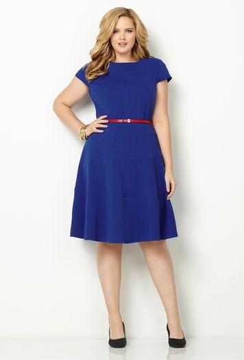 Avenue....business casual..CAP SLV TIERED BELT DRESS, Royal Blue,