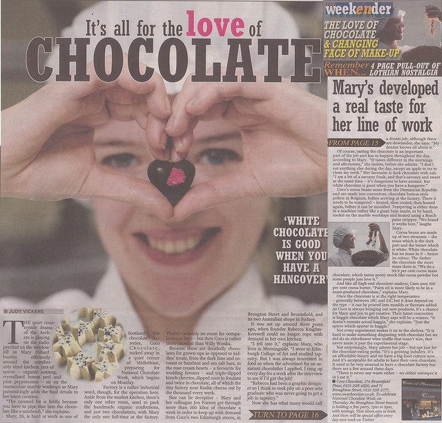 Edinburgh Evening News 'For the Love of Chocolate'  by Coco Chocolate, via Flickr