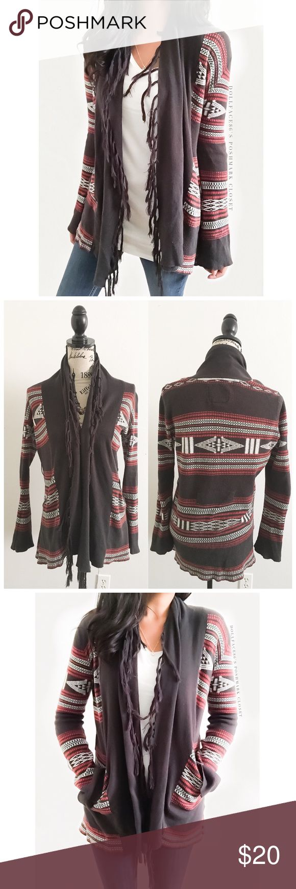 "Billabong Boho Fringe Cardigan This sift cardigan has a stylish southwestern print with a fringe lined front + pockets on each side. It's a super comfortable cardigan, nice for multiple season wear.  {I am not a professional photographer, actual color of item may vary ➾slightly from pics}  ❥chest:21"" ❥waist:20"" ❥length:28""/30"" ❥sleeves:26"" ➳material/care:cotton/machine wash  ➳fit:could work for med  ➳condition:pre-loved,missing belt,no rips/stains  ✦20% off bundles of 3/more items ✦No Trades…"