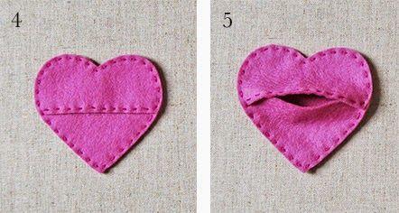 Manualidades y decoracion: Como hacer bolsillos en fieltro, en forma de corazón.