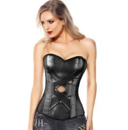 Gothic/Fetish Black Faux Leather Cross Straps Sexy Overbust Corset Bustier