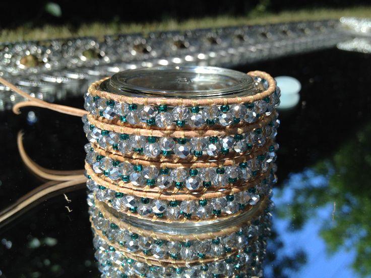 Mixed Media Silver / Teal 4 Wrap Bracelet
