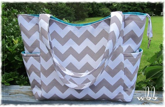 Custom Diaper Bag Versatile 2 Tone Elodie Handmade to Order Baby Boy Girl Nappy You Pick the Fabric Chevron Teal Aqua Grey Nappy via Etsy