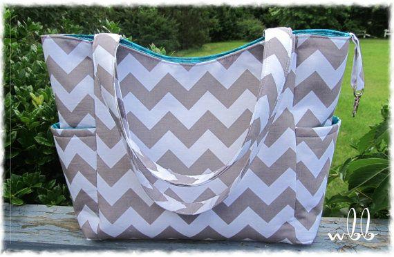Custom Diaper Bag Versatile 2 Tone Elodie Handmade to Order Baby Boy Girl Nappy You Pick the Fabric Chevron Teal Aqua Grey Nappy via Etsy