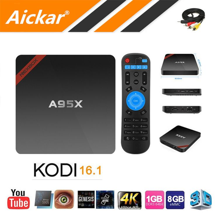 Terbaru nexbox a95x s905x amlogic kotak tv android 6.0 max 2g/16g Quad Core 2.4G WIFI KODI IPTV Cerdas TV Box Android Media Player