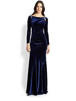 Teri Jon Velvet Slit-Shoulder Gown Saks sale