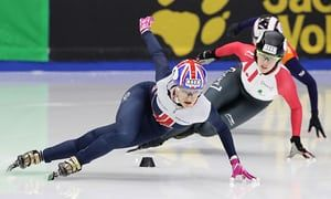 Speed skater Elise Christie, front, is one of Great Britain's main medal  hopes at the 2018 Winter Olympics in Pyeonchang. Photograph: Chung  Sung-Jun//ISU ...