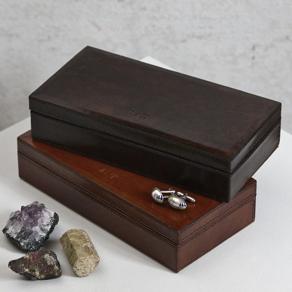 Handcrafted personalised leather cufflinks box