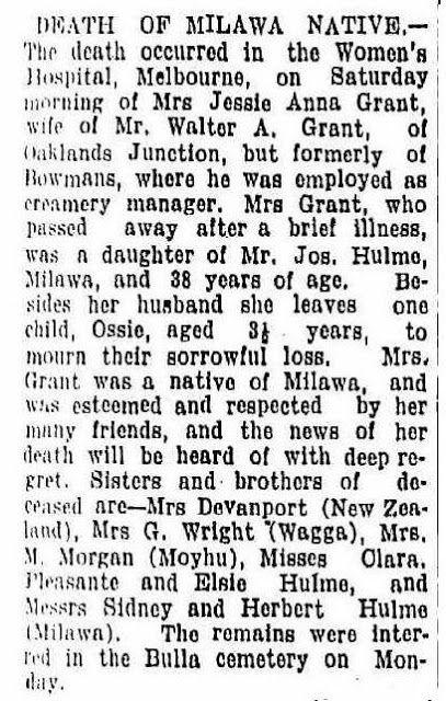 AncestorChasing: Jessie Anna GRANT nee HULME Obituary