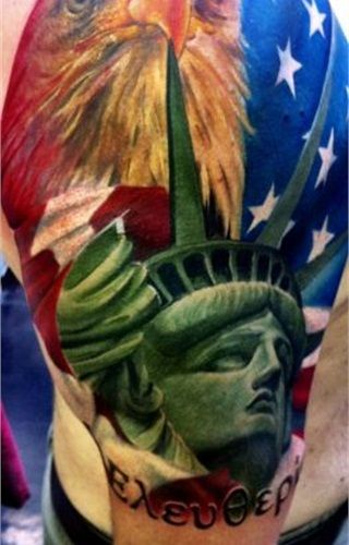 This officer's patriotic tattoo depicts the national symbols of the Statue of Liberty, American flag, and eagle with the Greek word for liberty. - www.policemag.com - #police