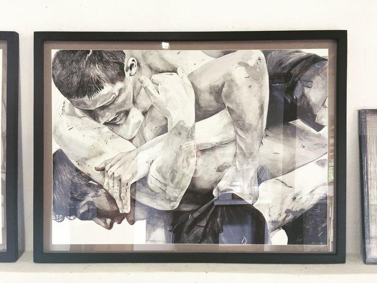 Karin Dando -Fight Boys framed for exhibition 2017