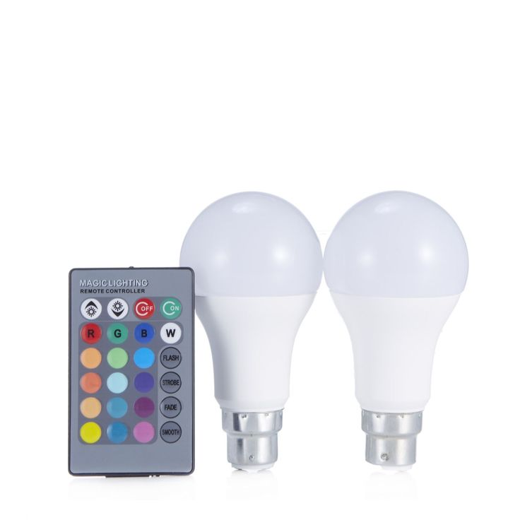 508011 Langdon European Set of 2 LED Colour Changing Bulbs with Remote Control QVC PRICE: £15.00 + P&P: £2.95 A set of two LED colour changing lightbulbs from Langdon European that are remote control-operated and can be dimmed. With 16 colour options and four different mode, it's so easy to create a variety of moods in your home.  Bulb type: LED (bayonet fitting)