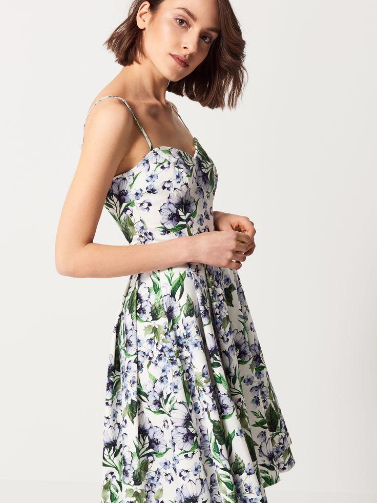 Bawełniana sukienka w kwiaty , SUKIENKI, KOMBINEZONY, wielobarwn, MOHITO