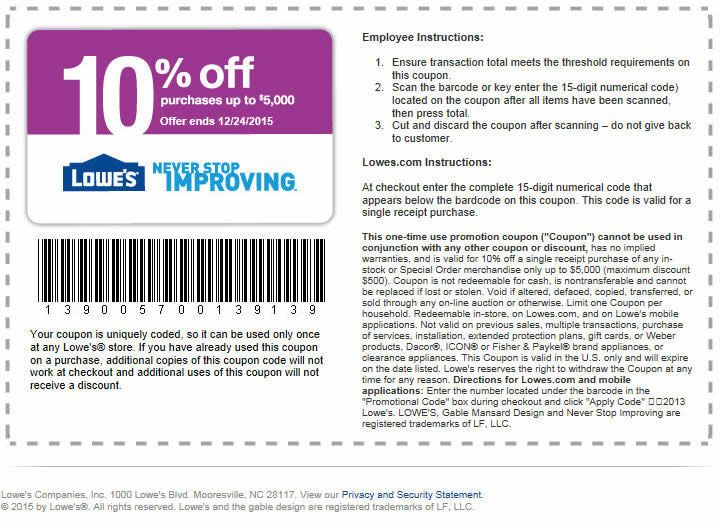 Lowes coupons printable