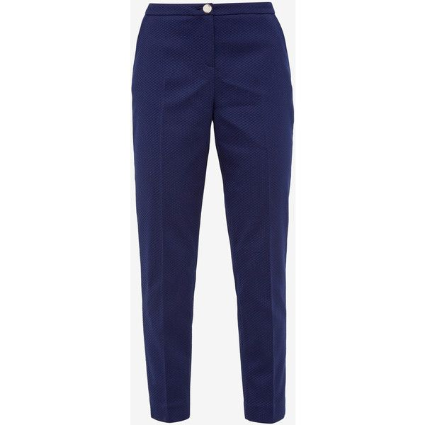 Ted Baker Textured tapered pants ($215) ❤ liked on Polyvore featuring pants, zipper trousers, blue trousers, tapered fit pants, ted baker trousers and blue pants