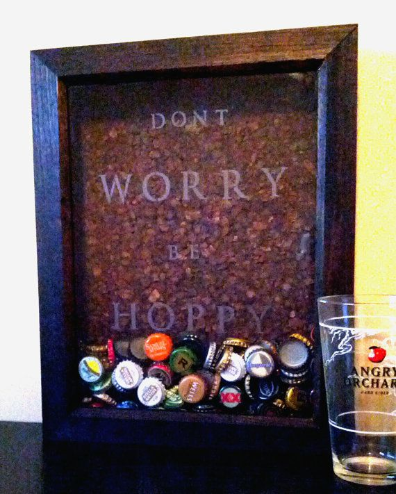 This shadow box is a unique and decorative way to collect all of your beer caps! Unlike most other shadow boxes, this box has the phrases