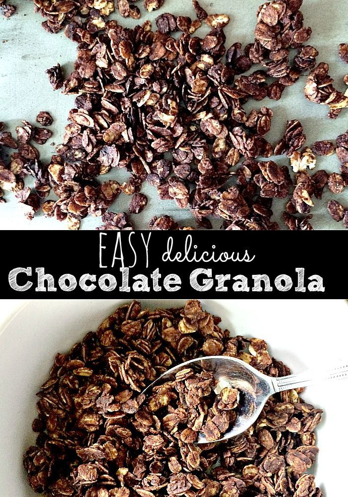 The BEST chocolate granola is SO easy to make. This recipe is not too sweet and perfect with some yogurt or a splash of milk. You probably have all the ingredients in your panty right now. Easy, delicious and sure to be a family favorite.