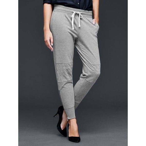 Gap Women Moto Boyfriend Joggers ($40) ❤ liked on Polyvore featuring activewear, activewear pants, heather grey, petite, gap sportswear, petite activewear pants, gap activewear, petite sportswear and petite activewear