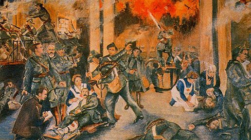 """""""The Birth of the Irish Republic"""" depicts the 1916 Rising from inside the GPO."""