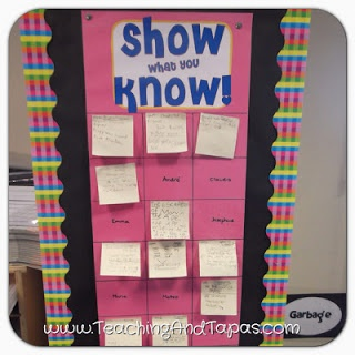 Show What You Know: Exit Slip Poster - Each square has a different student's name. They summarize lesson or do problem on sticky note and place on poster.