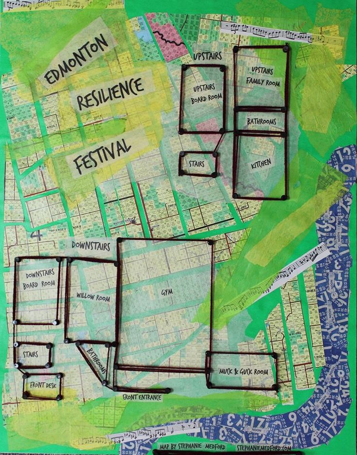 Edmonton Resilience Festival 2015: Community Connections Fair and Free For All Activities announced | The Local Good | Map of the Edmonton Resilience Festival, multimedia artwork by Stephanie Medford, with permission.