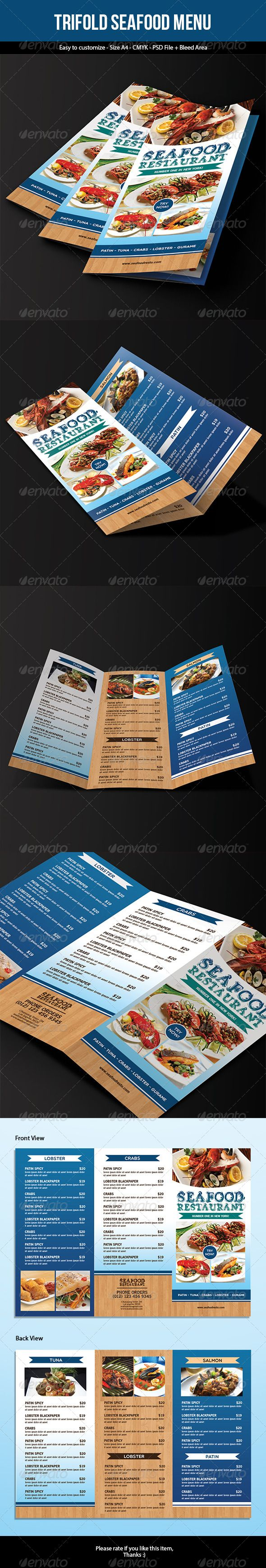Trifold Seafood Menu Template #design Download: http://graphicriver.net/item/trifold-seafood-menu/7320600?ref=ksioks