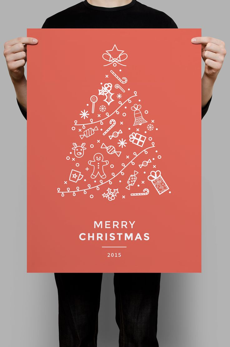 Minimal icon christmas flyer template.