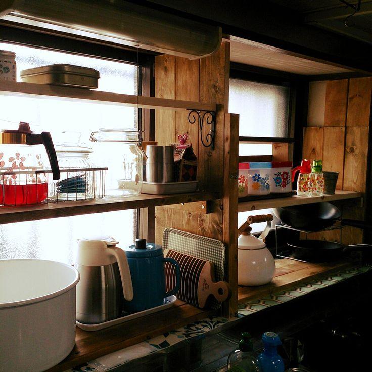 今日はちょっと明るく撮れた!/DIY棚/キッチンの出窓に棚/古い家/キッチン…などのインテリア実例 - 2016-02-06 11:24:33 | RoomClip(ルームクリップ)