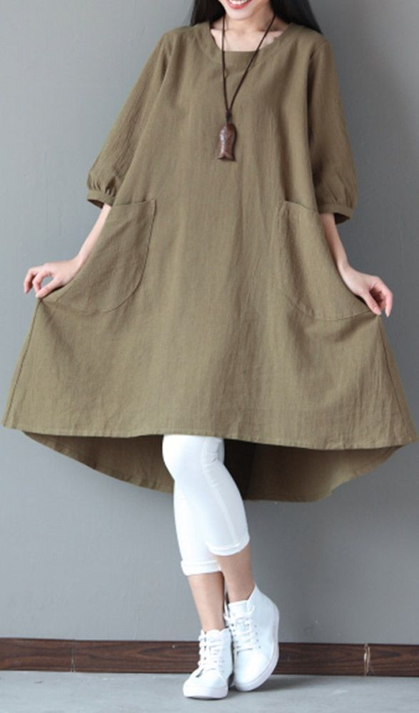 UP TO 55% OFF! O-NEWE A-Line Vintage Pure Color Pockets Dress For Women. SHOP NOW!