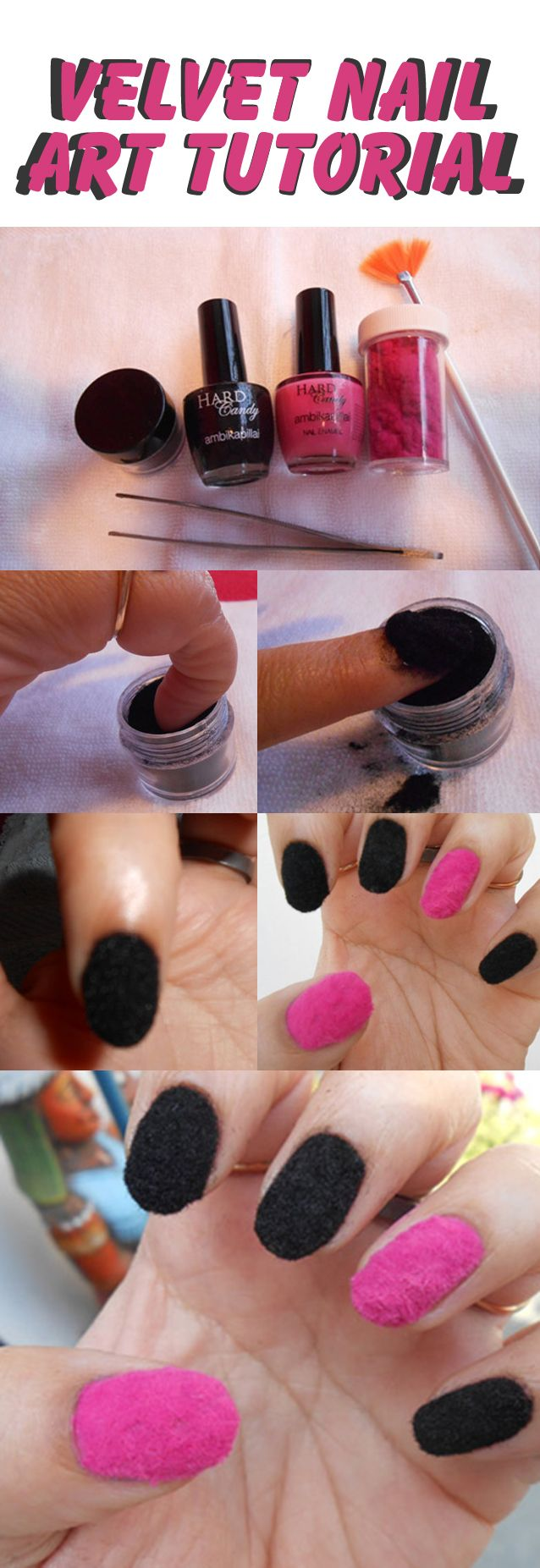 Simple Nail Art Tutorial: This velvet nail art tutorial shows how you can get these nails done at home easily.