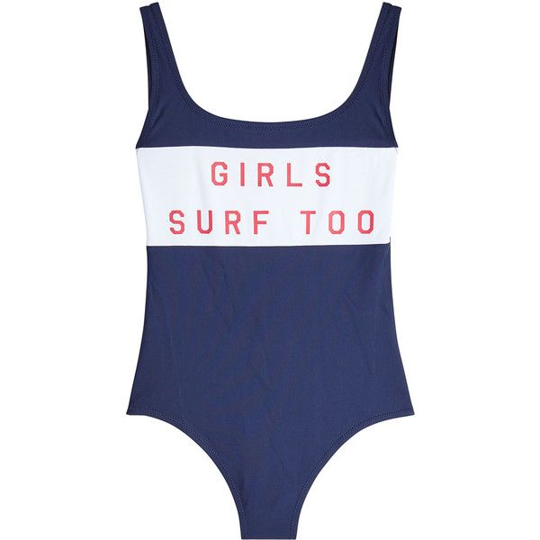 Zoe Karssen Printed Swimsuit (175 BAM) ❤ liked on Polyvore featuring swimwear, one-piece swimsuits, blue, nautical swimsuit, swimming costume, blue bathing suit and blue swimsuit