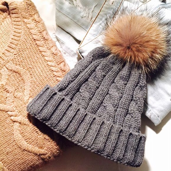Grey Beanie w/ Pom Excellent condition. Like new. Worn once or twice. Faux fur. Pom detaches (snaps on and off) for days when you want to go without! NO TRADES/PAYPAL. AKIRA Accessories Hats