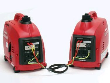 Honda parallel cable connecting two identical EU series generators.