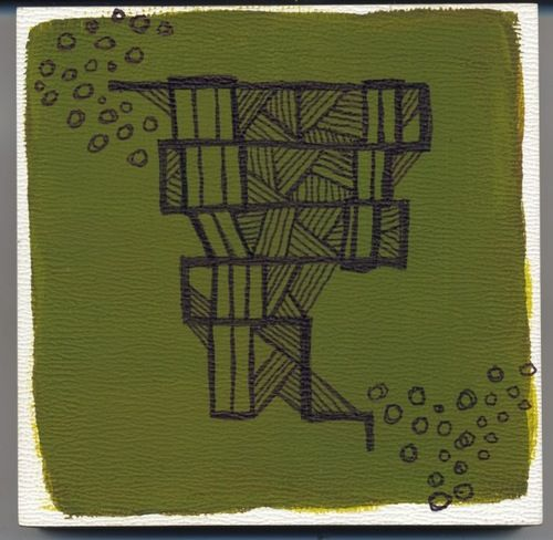 Painting from a geometric line series that I did. Leaves of Three Let Them Be.  Acrylic and Pen. Amy Huber 2014