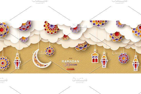Ramadan Gold Clouds And Lanterns Ramadan Kareem Traditional Lanterns Greeting Card Template
