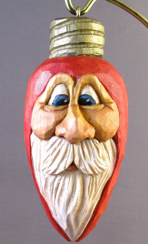 christmas light ornament santa wood carving by cjsolberg on Etsy, $40.00