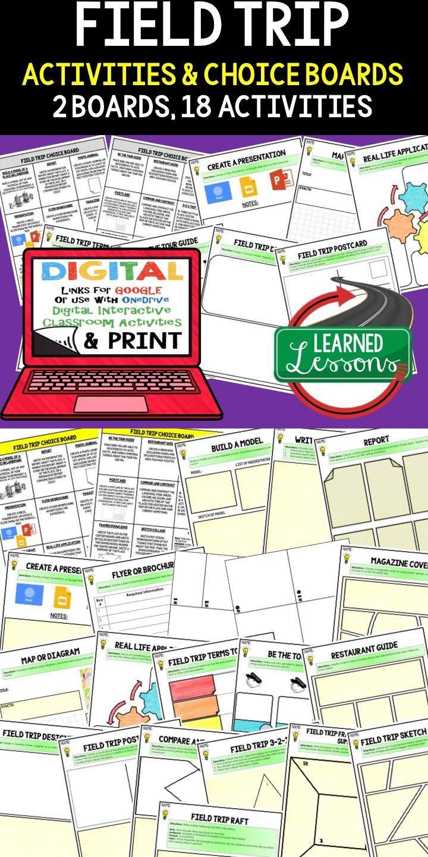 field trip activities, choice board, print & digital, google